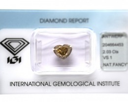 2.03 ct. Natural fancy deep Brown Heart Brilliant shape diamond, IGI