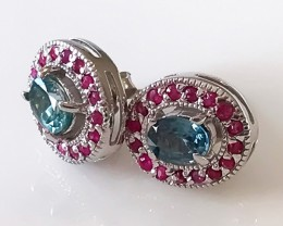 Sensational Zircon Ruby stud Earrings Sterling Silver Gold