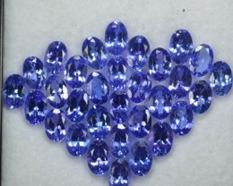 15.30 Cts NATURAL TANZANITE - 6x4mm - OVAL - 31Pcs - PURPLE BLUE - TANZANIA