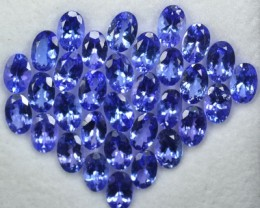 15.20 Cts NATURAL TANZANITE - 6x4mm - OVAL - 32Pcs - PURPLE BLUE - TANZANIA