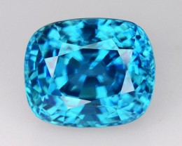 ~VVS~ 10.42 Cts Natural Sparkle Blue Zircon Cushion Cambodia