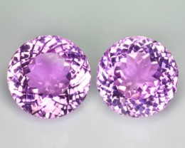 ~PAIR~ 42.58 Cts Natural Hot Pink Kunzite Round Afghanistan