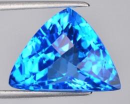 ~FANCY~ 15.20 Cts Natural Swiss Blue Topaz Checkerboard Brazil