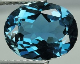 3.10 CTS DAZZLING NATURAL ULTRA RARE LONDON BLUE TOPAZ OVAL BRAZIL