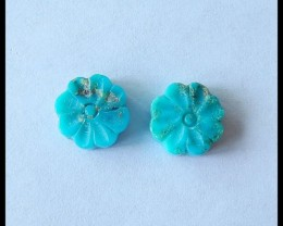 Natural Turquoise Carving Flower Cabochon Pairs,10x4mm,6.5ct(17051805)