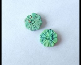 Natural Turquoise Carving Flower Cabochon Pair,10x3mm,4ct(17051808)