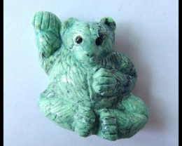 Natural Green Turquoise Handcarved  Lovely Bear Cabochon,Lovely Animal Deco