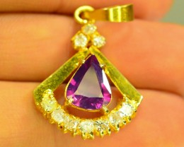Corundum Sapphire Pendant 14K Gold&Diamonds