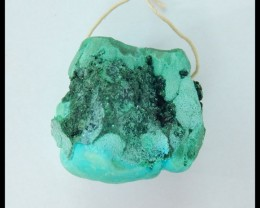 Natural Drusy Geodes Malachite Charm Pendant Bead,34x31x7mm,242.5ct(1705191