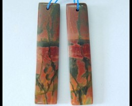 Natural Muti Color Picasso Jasper Earrings,46x11x4mm,39ct(17052001)