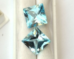 19.86 Carat Matched Pair of Fine Square Cut Sky Blue Topaz
