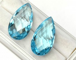 29.27 Carat Matched Pair of Very Fine Pear Checkerboard Cut Sky Blue Topaz