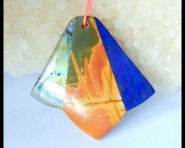 Natural Labradorite,Muti Color Picasso Jasper,Lapis Lazuli Intarsia Pendant