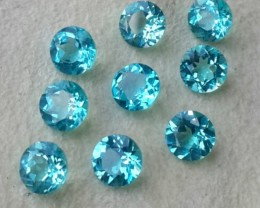 4.35 CTS RAVISHING LUSTER TOP BLUE-GREEN NATURAL APATITE ROUND 5MM NR!!!