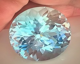 66.04ct Certified Blue Topaz - Custom Cut, Rare Stone, Great Beauty VVS