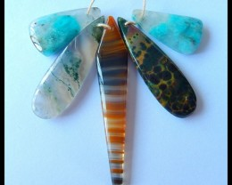 76ct Special Offer Natural Amazonite,Ocean Jasper,Red Agate,Moss Agate Inta