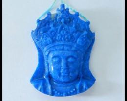 Natural Lapis Lazuli Carving Buddha Head,Godness Pendant,44x33x10mm,101.9ct
