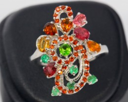 21ct Size 9 Multi Gemstone Sterling Silver 925 Ring
