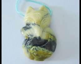 Natural Serpentine Carving Fox Animal Pendant,36x22x10mm,57.5ct(17052405)