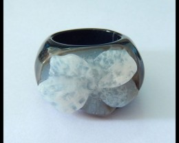Natural Stripe Agate Carving Flower Ring,Elegant Jewerly Accessory,38x30x18