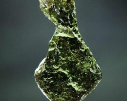 Very Glossy - RARE - Natural Moldavite with Olive green color