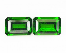 1.38 Cts Natural Chrome Diopside - Forest Green - 2Pcs - Octagon - Russia