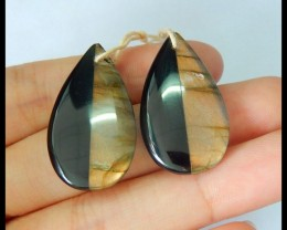 Natural Labradorite,Obsidian Intarsia Teardrop Earrings,29x16x4mm,32.5ct(17