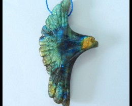 Natural Labradorite Carving Bird Pendant,60x33x9.5mm,91ct(17052703)