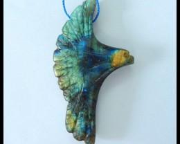 Natural Labradorite Carving Bird Pendant,60x33x9.5mm,91ct(17052703)