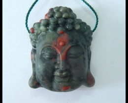 Natural African Blood Jasper Carving Buddha Head Pendant ,31x25x12mm,67.3ct