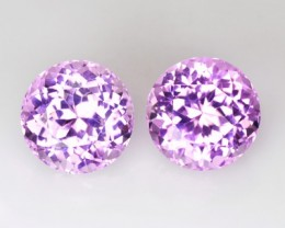 ~PAIR~ 11.69 Cts Natural Hot Pink Kunzite Round Afghanistan