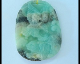 Natural Amazonite Carving Eagle Pendant,47x35x6mm,92ct(17052809)