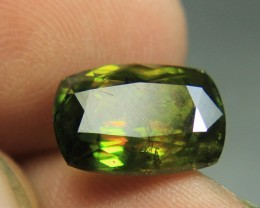 Wow Very Beautiful Rare Rainbow Luster Green Sphene From Pakistan.