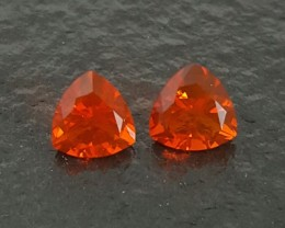 1.71 CT MEXICAN FIRE OPAL PAIR - MASTER CUT!  FLAWLESS!