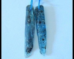 Natural Green Kyanite Nugget Earrings,33x5x3mm,17ct(17052904)
