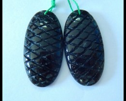 Natural Obsidian Carving Earrings,30x15x5mm,29.5ct(17052907)