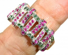 24.15 CTS PINK & GREEN QUARTZ SILVER RING   SG-2440
