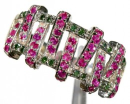 24.65 CTS PINK & GREEN QUARTZ SILVER RING   SG-2444