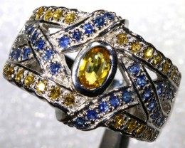 42.5 CTS CITRINE AND TOPAZ SILVER RING SG-2450