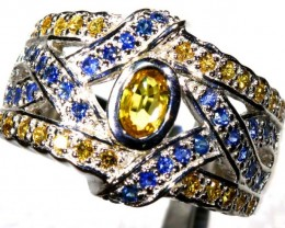 44.4 CTS CITRINE AND TOPAZ SILVER RING SG-2452