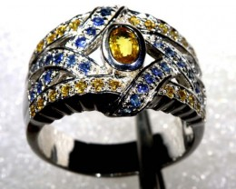 39.8 CTS CITRINE AND TOPAZ SILVER RING SG-2453