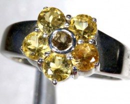 28.35CTS CITRINE AND QUARTZ SILVER RING SG-2470