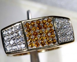 46.60 CTS CITRINE AND QUARTZ GOLD PLATED RING SG-2471