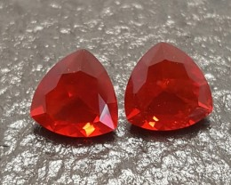 1.67 CT MEXICAN FIRE OPAL PAIR - MASTER CUT!  FLAWLESS!  CALIBRATED!