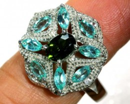 33.45 CTS APATITE AND CHROME DIOPSIDE SILVER RING SG-2502