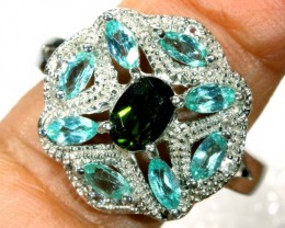 32.9 CTS APATITE AND CHROME DIOPSIDE SILVER RING SG-2503