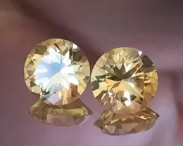 7.30mm Diamond Cut Citrine Pair VVS Quality Jewellery grade