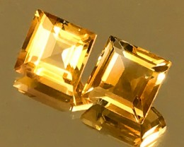 Superb Special Cut Citrine Pair 8.00mm Top Grade Gems