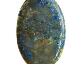 Genuine 66.50 Cts Oval Shape Blue Moss Agate Cab
