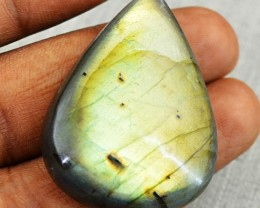 Genuine 65.30 Cts Golden Flash Labradorite Pear Shape Cab